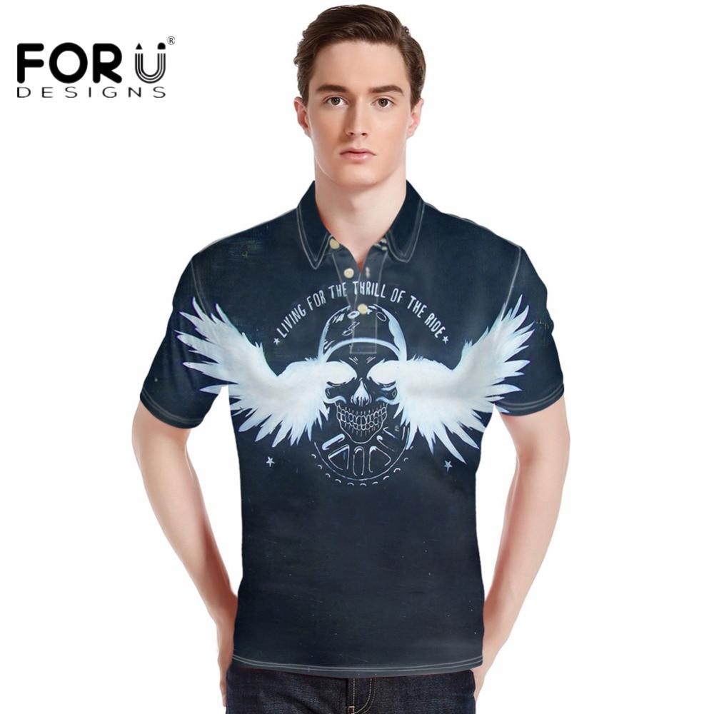 Forudesigns 2017 Men Fashion Polos Shirt Summer Punk Skulls Pattern