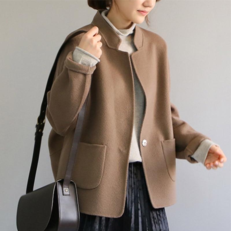 2018 100% шерсть Двусторонняя кашемировое пальто Для женщин Шерстяное пальто кокон-стиль костюм пальто