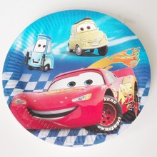 10pcs/set  Cars 7inch Lightning Mcqueen paper plates birthday Children Party Supplies Kids Happy Birthday Party Decoration цена