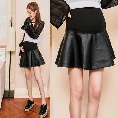 Schwarz PU Mutterschaft Röcke Mode Pflege Bauch Kurzen Rock Elastische Taille Mutterschaft Kleidung Röcke Für Schwangere Wome