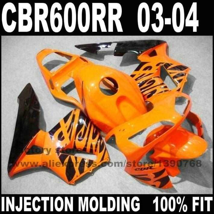 Road/race Injection motorcycle part for HONDA CBR 600 RR 2003 2004 CBR600RR fairings set CBR600 03 04 orange black fairing kit