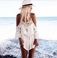 Rendas Calções Brancos Playsuit 2016 Sexy Femmes Dentelle Mousseline Col V Boas Vibrações Romper