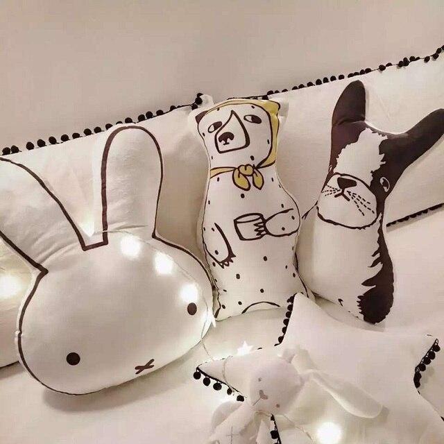 Прекрасный Мультфильм Животных Медведь Собака Кролик Подушка Подушка Ребенка Спокойный Сон Куклы Мягкие Игрушки Для Детей Мальчиков Девочек Украшения Комнаты