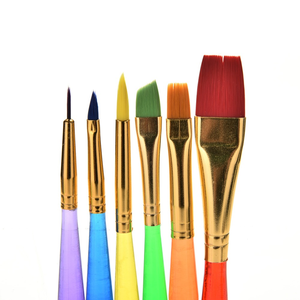 6 Pcs/Set Educational Kids Watercolor Drawing Painting Kindergarten Crafts Nylon Handle Brush Great Paint Brushes Craft Toy