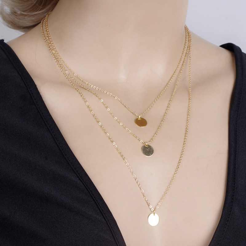 Moda wielowarstwowe złoty kolor 3 warstwy z cekinami Choker naszyjniki wisiorki łańcuszek do obojczyka dla kobiet dziewczyna prezenty