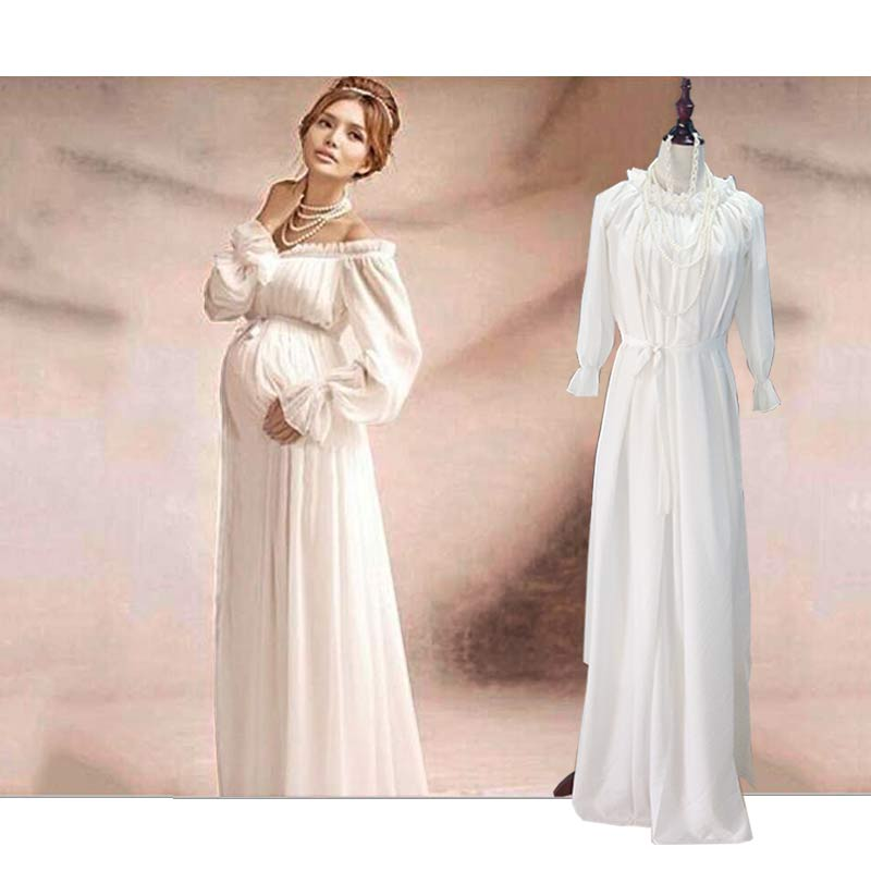 Maternity Clothes Photo Chiffon Solid Dresses Chiffon White Full Ankle-Length best Quality Craftsmanship Suitable Any Size