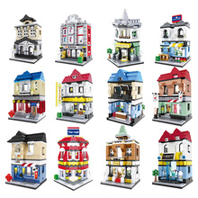 HSANHE Street Architecture Serie Action Building Blocks Brick Kits City House Bank Classic Compatible Legoedly Toys For Children