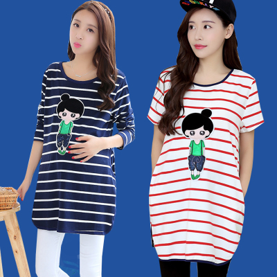 loose big yards of cotton maternity spring coat  long render unlined upper garment of pregnant women T-shirt with long sleeves