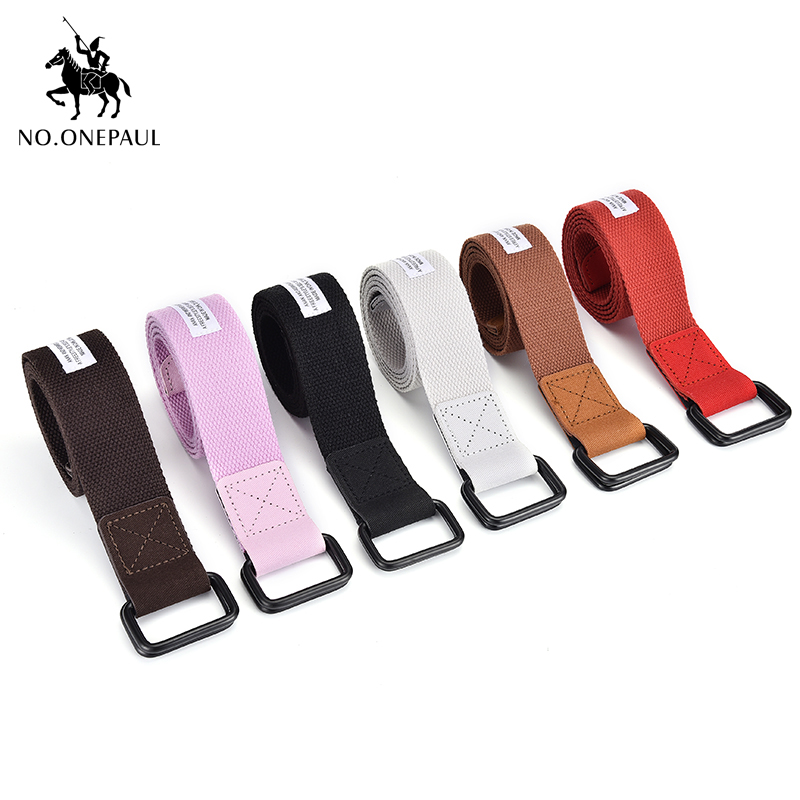 NO.ONEPAUL Fashion Multicolor Canvas   Belt   for Alloy Agio Buckle Harajuku Solid Color Long   Belts   Women Casual Female Waist   Belts