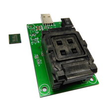 eMCP162 eMCP186 Socket with clamshell programming adapter USB HDD flash memory mobile tablet data recovery socket BGA162 BGA186 qfn44 mlf44 wlcsp44 to dip44 double board programming socket ic550 0444 010 g pitch 0 5mm ic size 7x7mm adapter smt test socket