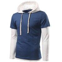 New Trend Hoodies Sweatshirt Men 2016 Autumn Fashion Fake Two Piece Design Mens Slim Fit Hooded