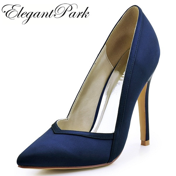 Women's Bridal Shoes  Ivory Navy Blue High Heels Bride Bridesmaids Pumps Satin Wedding Prom Evening Party Pumps HC1603 Champagne navy blue woman bridal wedding sandals med heel peep toe bride bridesmaid lady evening dress shoes white ivory pink red hp1623