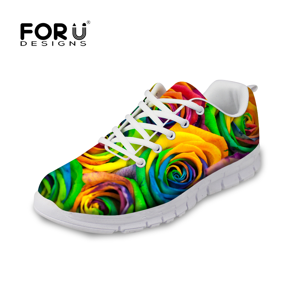 FORUDESIGNS Spring Autumn Women Casual Sneakers Floral Rose Pattern Female Flats Lace-up Shoes Flats Lady Zapatillas Deportivas instantarts fashion girls spring autumn flats shoes cute havanese flower pattern female mesh flats shoes casual light sneakers