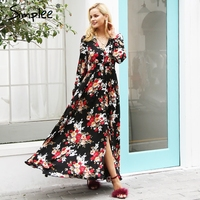 Simplee Elegant V Neck Floral Print Long Dress Women Long Sleeve Drawstring Button Autumn Maxi Dress