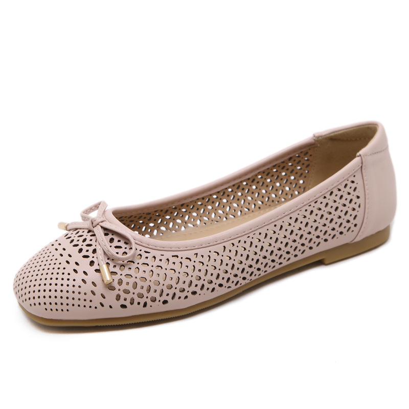 2018 Women's Flashion Flats Soft cool Lady Cute Ventilation Leisure Comfort Hollow Shoes Small Square Bow Code Flat .JXF-9036-29 cool soft small