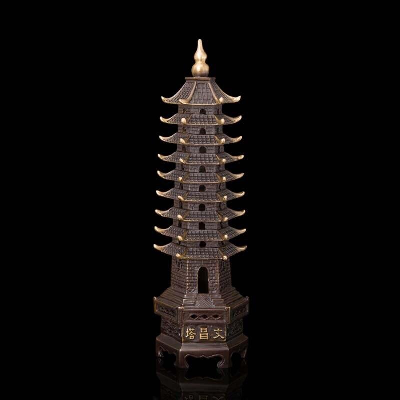 13 couches 40 CM chine BrassTibet bouddhiste pagode Feng Shui chanceux maison décoration Wenchang tour Dagoba Sculpture Statue