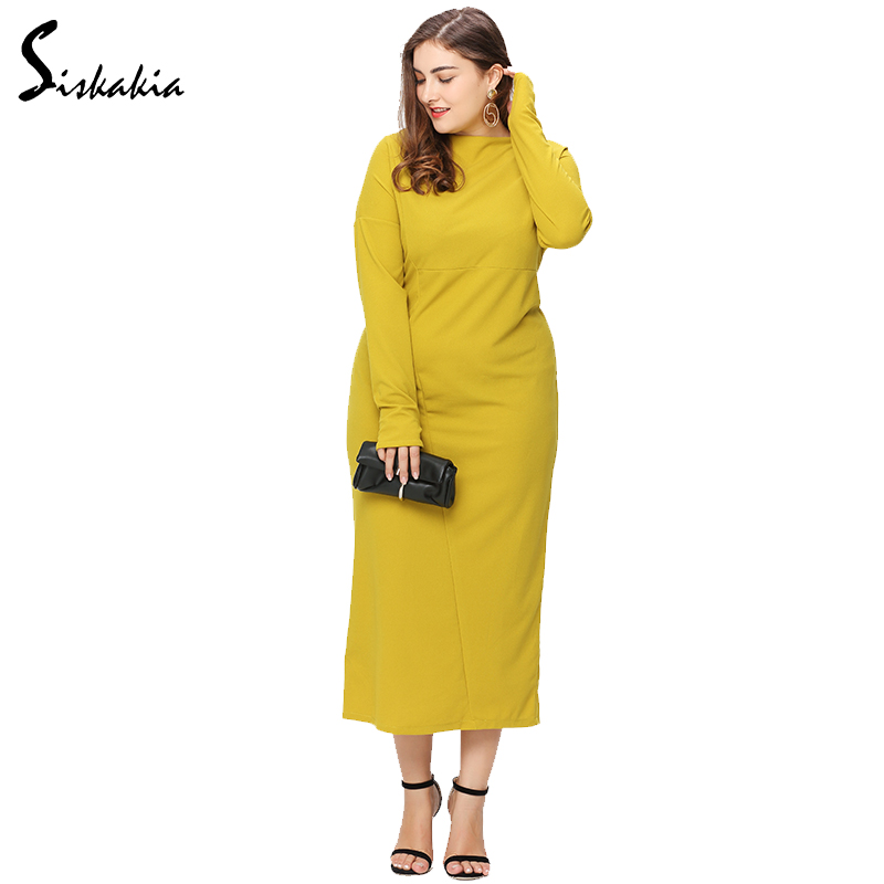 Yellow Turtleneck Long Sleeves with Maxi Dresses