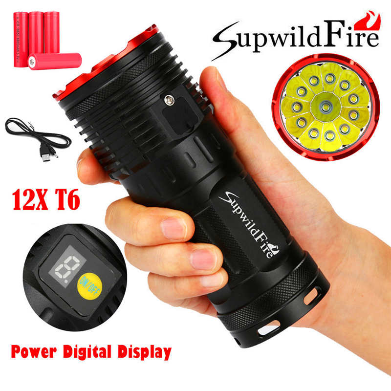 Lights & Lighting Objective Supwildfire 36000lm 12 X Xm-l T6 Led Power Digital Display Hunting Flashligt Powerful Led Flashlight By 18650 Battery #3o8 Neither Too Hard Nor Too Soft