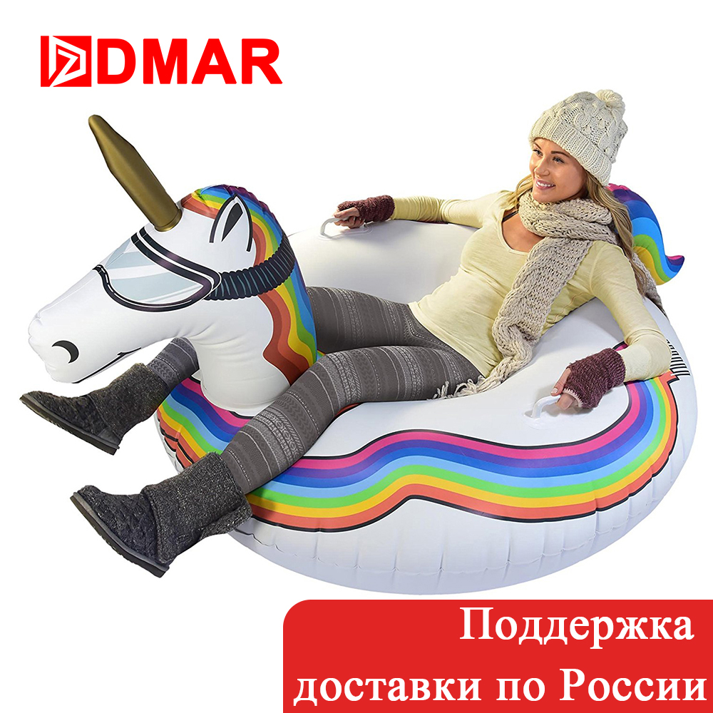 DMAR 125cm Inflatable Flamingo Unicorn Ring For Adults Skiing Ski Ring Swimming Circle Pool Float Mattress Beach Water Snow Toys