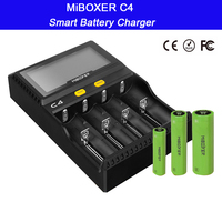 Wholesale LCD Smart Battery Charger Miboxer C4 for Li ion IMR ICR LiFePO4 18650 14500 26650 21700 AAA Batteries 100 800mAh 1.5A