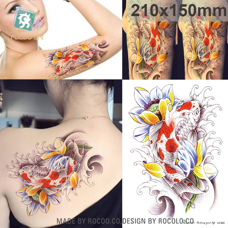 LC-822/New 2016 3D Big lotus and fish with flower tatouage temporary stickers big arm body tattoo