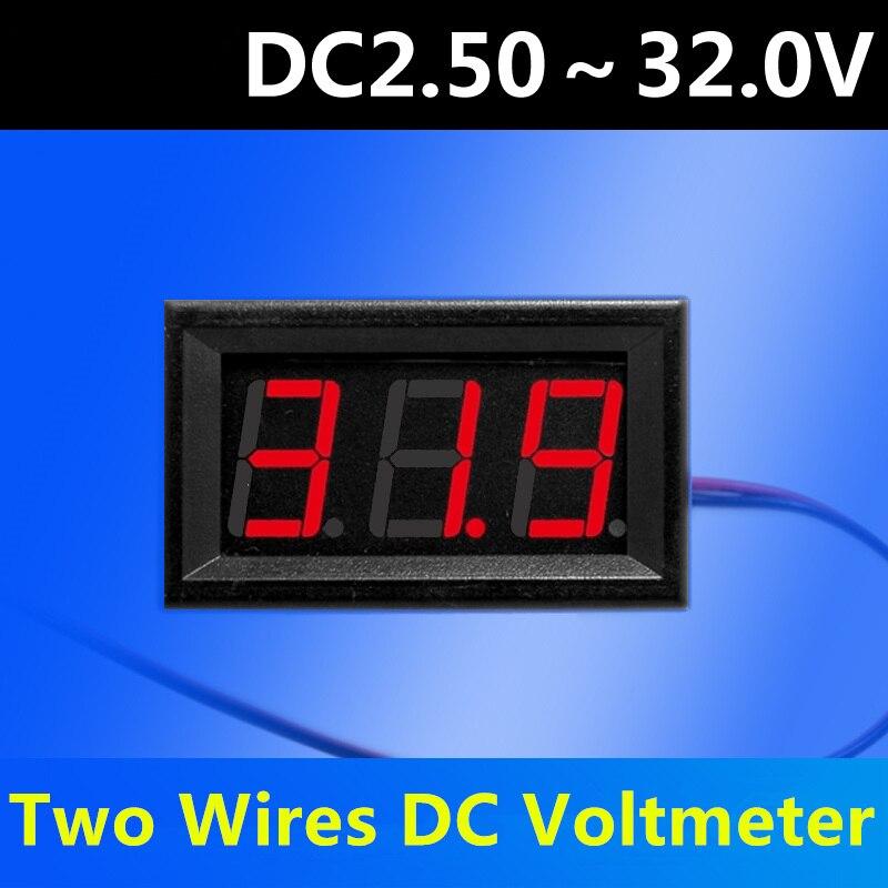 DIY DC2.5-30V DC 0-100V 2/3 Wires Red LED Panel Voltage Meter Gauge Digital Voltmeter Tester Electrical Instruments For Car Auto