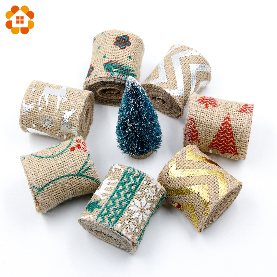 2m diy christmas burlap jute burlap rolls hessian ribbon for Diy jute