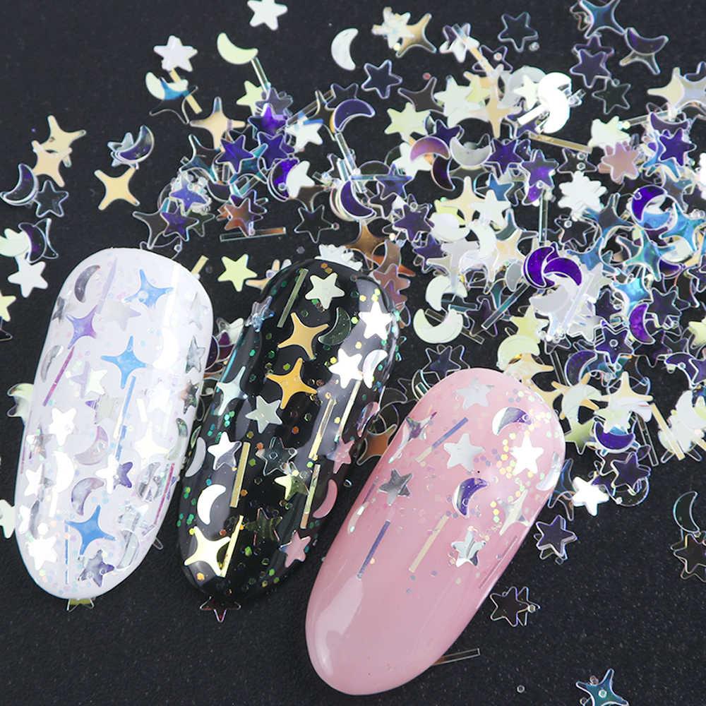 1 Botol Laser Kuku Glitter Hologram Payet Campuran Serpihan Bintang Crescent Paillette Bubuk Spangle 3D Kuku Seni Dekorasi BE779