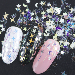 Image 3 - 1 Bottle Laser Nail Glitter Holographic Sequins Mixed Flakes Star Crescent Paillette Powder Spangle 3D Nail Art Decoration BE779
