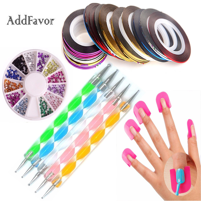 Addfavor nail art decoration tip tool set dotting pen 30pcs addfavor nail art decoration tip tool set dotting pen 30pcs rhinestones rolls nail polish shield protector prinsesfo Gallery