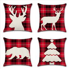 Christmas Decorative Cushion Cover Home Decoration Sofa Pillows Lattice Pattern 45CM*45CM Elk And Tree Pillow