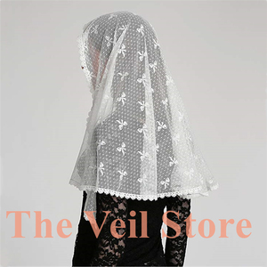 Image 2 - 2019 Ivory Black Lace Chapel Scarf infinity veil Catholic Mantilla Veil for Church Head Cover Latin Mass Mantilla de Novia Negra