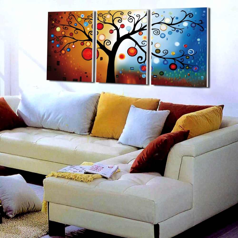3 أجزاء شجرة مجردة الحديثة جدار ديكور المنزل قماش صورة الفن hd طباعة الرسم على قماش الفنية