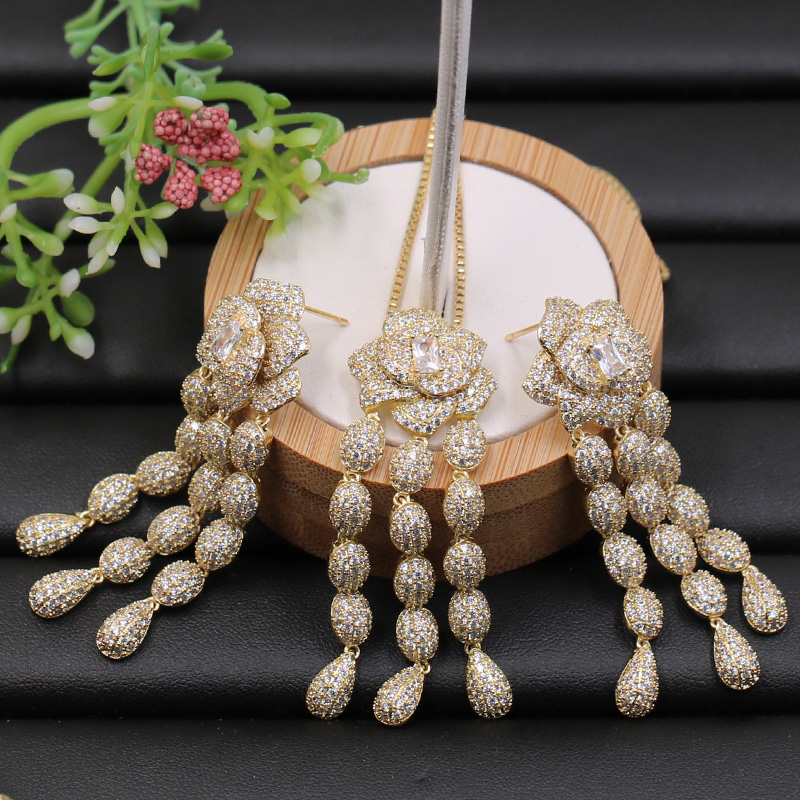 Lanyika Jewelry Set Elegant Flower Tassel Full Micro Paved Necklace with Earrings for Anniversary Engagement Luxury