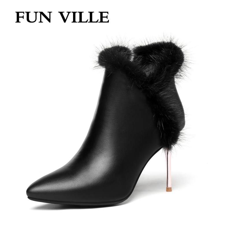 FUN VILLE Autumn winter 2018 New Style Women Ankle boots Genuine leather Black Thin High heels sexy ladies shoes Pointed toe 2018 new autumn winter genuine leather women ankle boots high heels pointed toe zip sexy ladies snow boots black women shoes