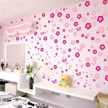 Holiday Sale 108 Flowers & 6 Butterfly DIY Removable Wall Sticker Decal home Bedroom Living/Wedding Room Kids Children Girls(China)