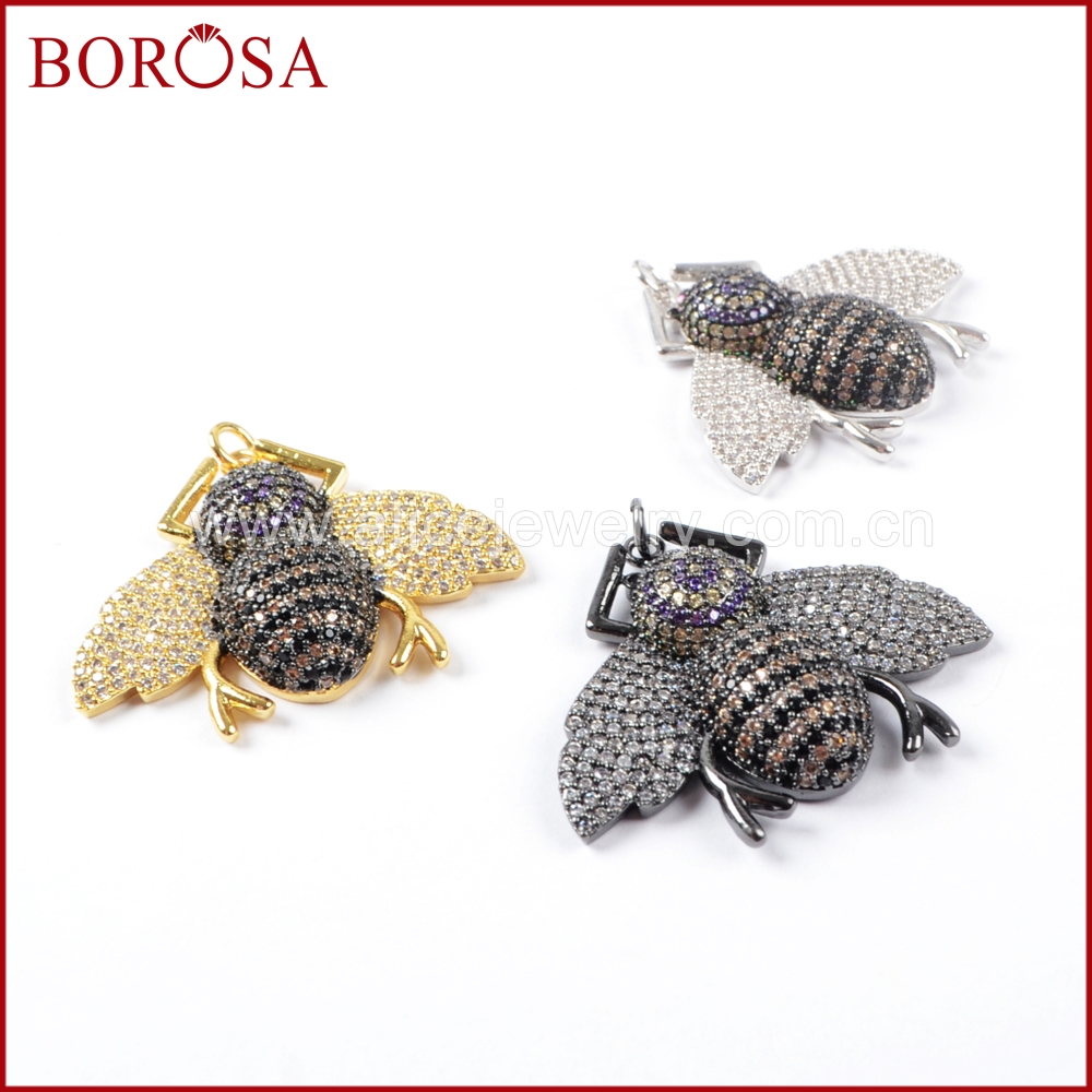 BOROSA 5PCS Fashion CZ Insects Beetles Pendant Multicolor Small Bugs Pets Beads CharmS PendantS for Earrings DIY Jewelry WX839