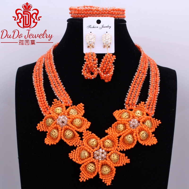цена на Orange And Gold Flowers Dubai Jewelry Sets 100% Handmade Jewelry Sets Brand New 3 Pics Jewelry Sets Nigerian Beads