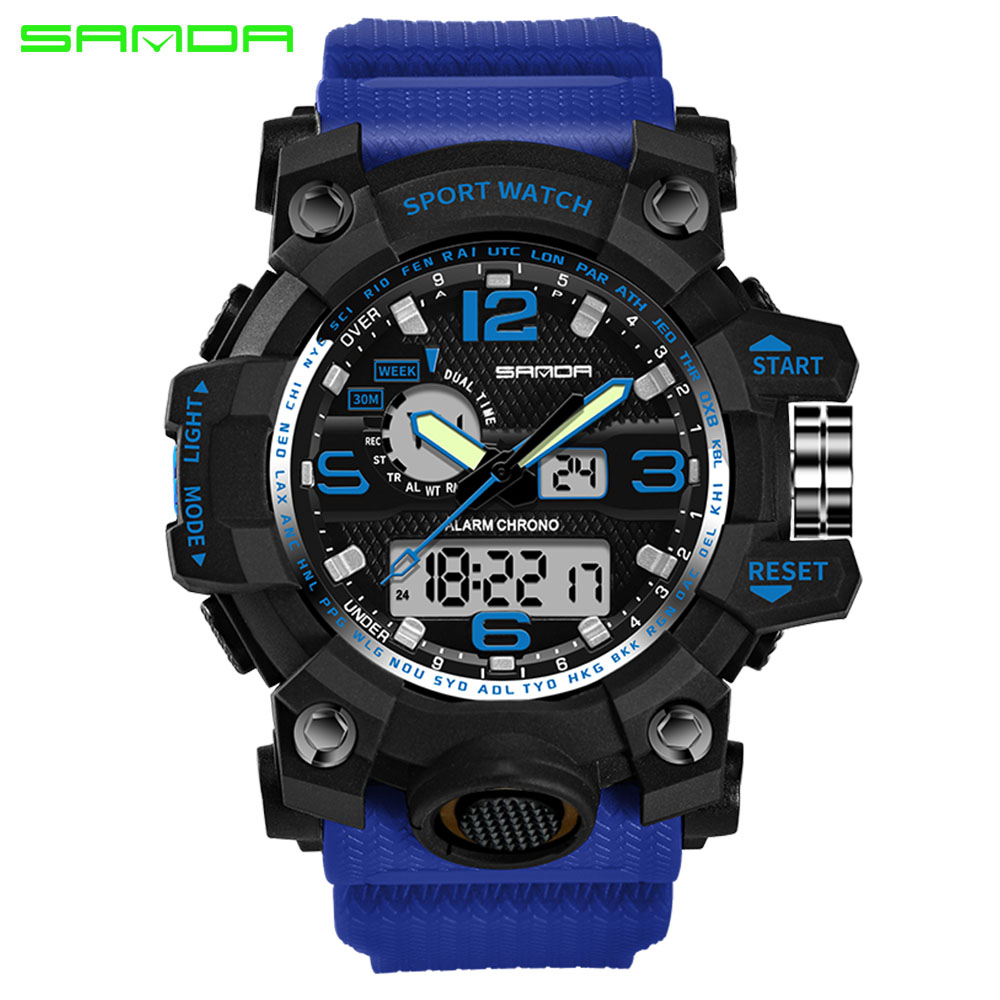 SANDA Watches Men Analog Quartz Digital Watch Waterproof Sports Watches for Men Silicone LED Electronic Watch Relogio Masculino