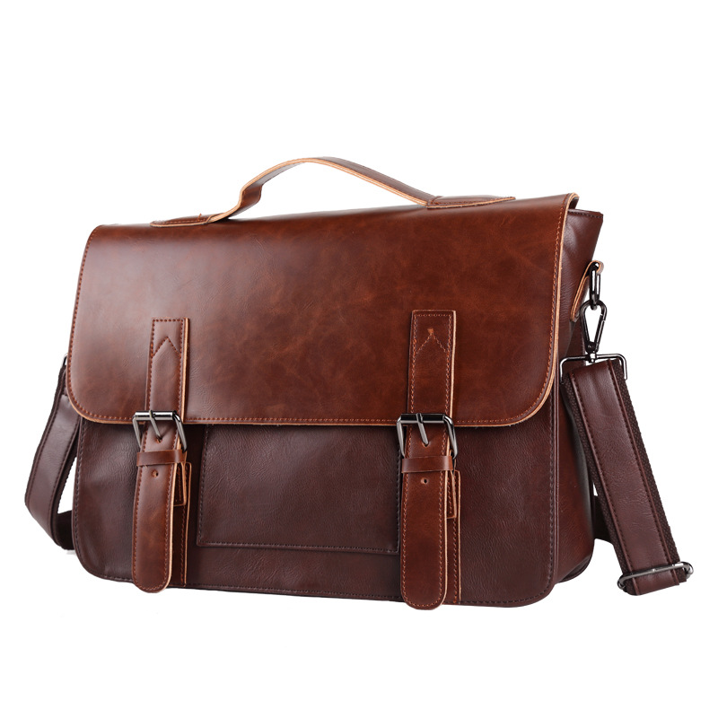 Briefcase Business Bag PU Crazy Horse Leather Double Cover Sleeves Single Shoulder Messenger Bag Large Capacity Retro Men's Brie
