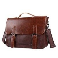 Briefcase Business Bag Crazy Horse Leather Double Cover Sleeve Shoulder Messenger Bag Large Capacity Retro Men's Briefcase
