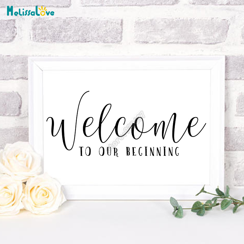 US $4.98 25% OFF|New Design Welcome To Our Beginning Wedding Sticker  Reception Sign Quotes Board Decal Party Decor B670-in Wall Stickers from  Home & ...