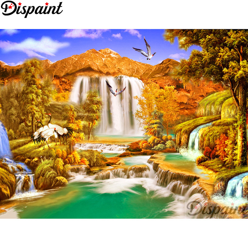 Diamond Painting Cross Stitch Needle Arts & Crafts Fine Dispaint Full Square/round Drill 5d Diy Diamond Painting tree Waterfall Embroidery Cross Stitch 3d Home Decor A11177 To Assure Years Of Trouble-Free Service