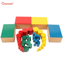 Montessori Sensorial Toys Knobless Cylinders Premium Quality Games Matte 3-6 Years Beechwood Colorful Educational SE009-3