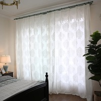 American Style Screens Simple 3D Jacquard Embroidery Sheer Mesh Tulle Curtains Custom For Living Room