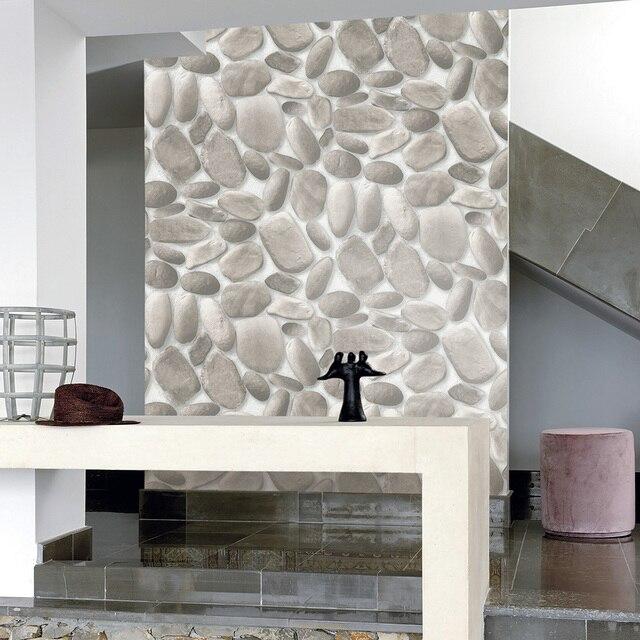 HaokHome Moderne Faux Kopfsteinpflaster 3D Tapete Grau Stein Strukturierte  Realistische Pebble Rollen Wohnzimmer Schlafzimmer Hause Wanddekoration