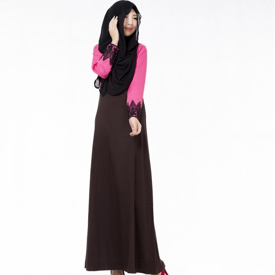28834530ec Maxi sukienki bawełniane luźne o-neck stałe muzułmański styl moda nowości  2017 kobiety długim rękawem dress czarny