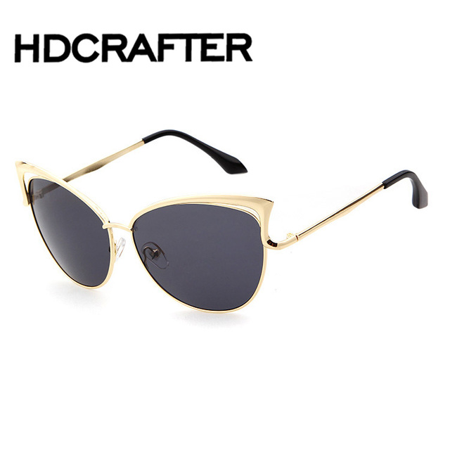 ca300385a55 Newest Sunglasses Women Brand Designer Cat eye Sun glasses Classic Retro  Style Female Alloy Big Frame