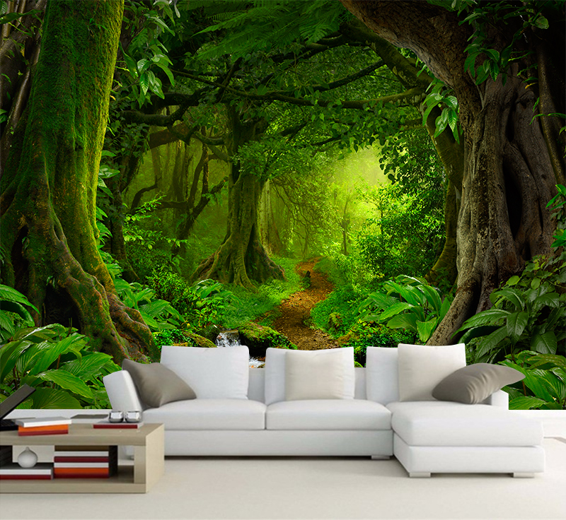 Custom Wallpaper 3D Tropics Forests Waterfall Trees Jungle Nature Modern Forest Path Wall Sticker Living Room Bedroom Mural