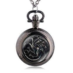 Винтаж китайский Стиль три Tragon узор кварцевые карманные часы кулон подарок женщина и Для мужчин